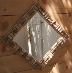 Wine corks framed mirror.