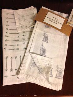 Flour Sack Tea Towels Hand Stamped Vintage Prints Black and White Modern Kitchen Decor Dish Towels Hipster