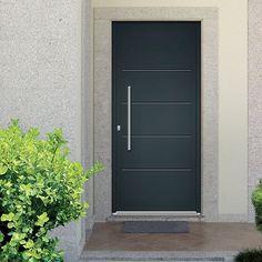 Porte d'entrée Aluminium EMALU VERMONT. Disponible en gris ou blanc de 80cm à 100cm. #porte #entrée #alu