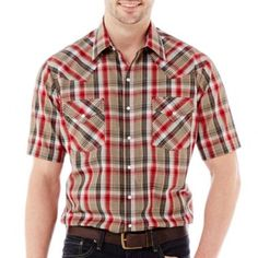 Ely Cattleman Short-Sleeve Plaid Snap Shirt-Big & Tall  found at @JCPenney