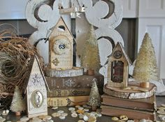 Christmas Village DIY Tutorial - instructions to make your own Christmas Village from scratch!  ********************************************  OneLuckyDay - #Christmas #decorating #papercrafts #paper #crafts #vintage #decor #houses #village #diy - tå√