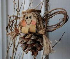 pinecone angel craft ornament