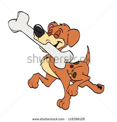 Hand Drawn Cartoon Dog/Happy Dog With Bone Stock Photo 118396126 ...
