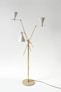 Anonymous; Brass and Enameled Metal Floor Lamp by Stilnovo, 1950s.