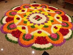 The Colorful Rangoli Designs with Flowers for this Diwali - Spaceio Com - Flower Rangoli Images, Simple Flower Rangoli, Rangoli Designs Flower, Colorful Rangoli Designs, Rangoli Ideas, Rangoli Designs Diwali, Rangoli Designs Images, Diwali Rangoli, Beautiful Rangoli Designs