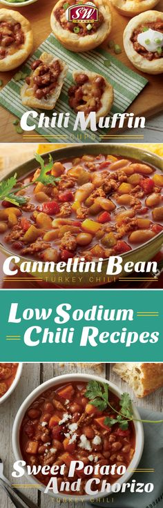 Make all the chilis you love, with less sodium! Use S&W Less Sodium Varietie… - Heart Health Easy Bean Recipes, Chili Recipes, Healthy Dishes, Healthy Recipes, Healthy Lunches, Healthy Food, Low Sodium Chili Recipe, No Sodium Foods, Healthy Fiber