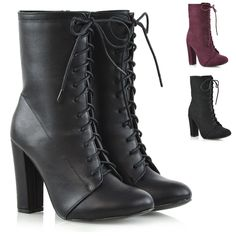 5992a60ffe3 Womens Ankle Boots Block Heel Lace Up Ladies Evening Party Combat Booties  3-8