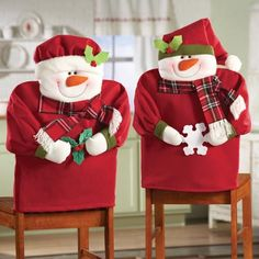 christmas chair covers   Snowman Family Chair Back Slipcovers from Collections Etc.