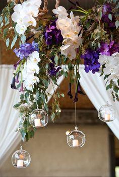 love this hanging floral decor // photo by Q Weddings // http://ruffledblog.com/plum-and-gra-texas-wedding