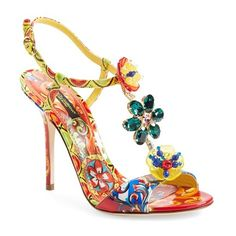 Dolce&Gabbana Jeweled T-Strap Sandal (€1.180) ❤ liked on Polyvore featuring shoes, sandals, multi color, colorful shoes, t strap sandals, summer shoes, floral print shoes and ankle strap shoes
