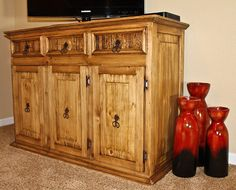 Three cabinets and three drawers provide you with extra storage space in the beautiful and very affordable small rustic storage cabinet. Rustic Storage Cabinets, Rustic Pine Furniture, Mexican Furniture, Classic Cabinets, House Essentials, Solid Wood Cabinets, Cabinets For Sale, Extra Storage, Online Furniture