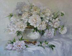 """Bouquet of white peonies"" by Russian artist, Oksana Kravchenko (1971) Russia, Novouralsk"