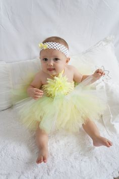 Yellow tutu, baby dress,  tulle, stretch top, with matching headband,  size 0 to 1 year,  great lst picture photo prop. on Etsy, $35.00