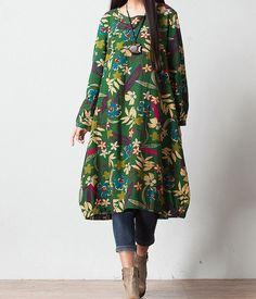 Women Print maxi dress / long dress / cotton linen dress/loose dress/long sleeve dress(100)
