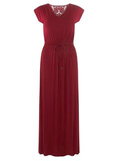 Berry Red Crochet Back Maxi Dress - Dorothy Perkins