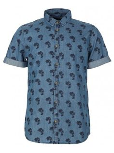 Industrialize Mens Blue Ice Palm Tree Denim Short Sleeve Shirt, £19.99