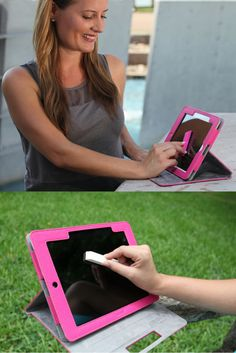 Great iPad case. Adjusts to different viewing angles and comes with a patent pending microfiber Gwee Racer to clean the screen of smudges and bacteria.