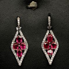 DAZZLING! REAL! RED RUBY & WHITE CZ STERLING 925 SILVER EARRINGS WHITE GP in Jewelry & Watches, Fine Jewelry, Fine Earrings | eBay