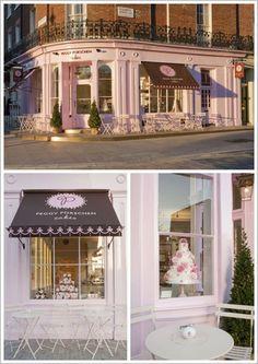 A Pretty Pastel Cake Shop in London Peggy Porschen Cakes Shop Front Cake Shop Design, Coffee Shop Design, Bakery Design, Cafe Design, Design Design, Design Ideas, Logo Patisserie, Boutique Patisserie, Bakery Store