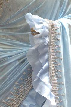 Light Blue Bead Embroidered Lycra Saree-SR25305 Zardosi Embroidery, Bead Embroidery Patterns, Beaded Embroidery, Designer Party Wear Dresses, Indian Designer Outfits, Chiffon Saree Party Wear, Light Blue Suit, Eastern Dresses, Modest Fashion Hijab
