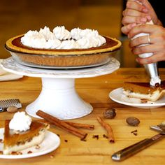 Pumpkin Cheesecake Pie, a recipe from the ATCO Blue Flame Kitchen's A Holiday Collection 2007 cookbook. Canadian Thanksgiving, Thanksgiving Traditions, Thanksgiving Ideas, Pumpkin Pie Cheesecake, Vanilla Whipped Cream, Pie Shell, Blue Flames, Cheesecakes, Recipe Box