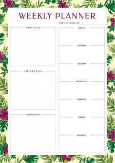 Weekly Planner with Main Goals