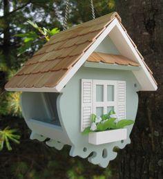 Blue Little Wren Feeder With Slide-Up Roof