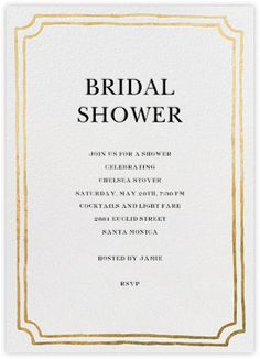 Simple black and gold bridal shower invite