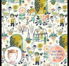 **Hersteller:** Birch Fabrics **Stoff:** Main **Kollektion**: Hidden Garden by Miriam Boes **Motiv:** Gärtner Blumen Pflanzen Garten  **Stoffbreite**: 111cm **Material**: 100%  Baumwolle...