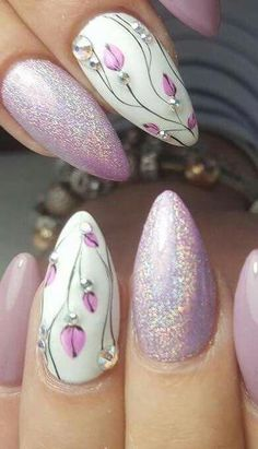 Beautiful flowers nail art for summer and spring ideas - fingernail idea . - Beautiful flowers nail art for summer and spring ideas – fingernail ideas – # - Spring Nail Art, Spring Nails, Summer Nails, Cute Nails, Pretty Nails, My Nails, Floral Nail Art, Floral Hair, Flower Nails