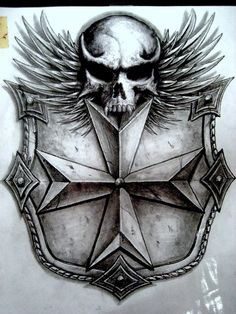 Skull Shield | skull shield by sarcovenator traditional art body art body ...