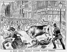 I'm assuming this bull escaped from nearby Smithfield Market. Smithfield Market, Fleet Street, London History, The World's Greatest, Tour Guide, Tours, Explore, City, Painting