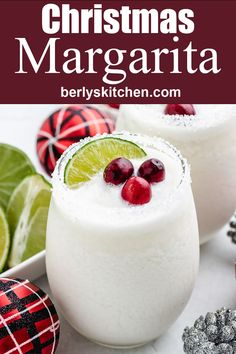 Our perfectly blended white Christmas margarita combines cream of coconut and silver tequila to create a creamy seasonal cocktail! #berlyskitchen Tequila And Lemonade, Peach Margarita, Mocktail Drinks, Cocktail And Mocktail, Fun Drinks Alcohol, Yummy Drinks, Coconut Tequila, Vodka Cranberry Cocktail, Cherry Vodka