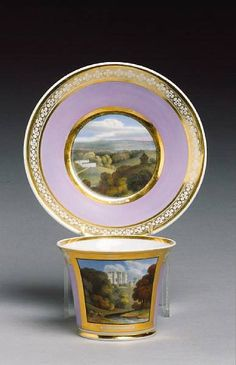 Chamberlain coffee cup and saucer circa 1815-20