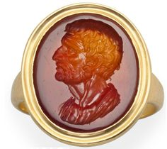 Roman Carnelian Ringstone, Century BC/ADwith an unknown male portrait, set in a modern ring Ancient Rome, Ancient Art, Ancient History, Hooked Nose, Byzantine Gold, Thick Beard, Roman Jewelry, Art Ancien, Sculptures