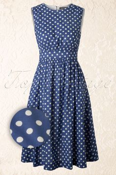 Emily and Fin - Lucy Long Blue and White Polka Dress