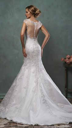 amelia sposa 2016 wedding dresses beautiful cap sleeves illusion neckline fit flare trumpet mermaid dress simona back