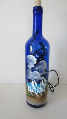Beach Chair Lighted Bottle by EverythingPainted on Etsy