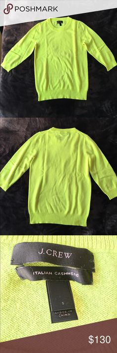 J. Crew neon yellow cashmere 3/4 sleeve sweater J. Crew neon yellow Italian cashmere 3/4 length sleeve sweater. Size small. Never worn or washed; like new! J. Crew Sweaters Crew & Scoop Necks