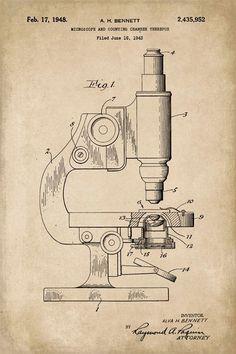 Microscope Scientific Patent Art Print #patentartprints #patentartvintage  #PatentArtPrints