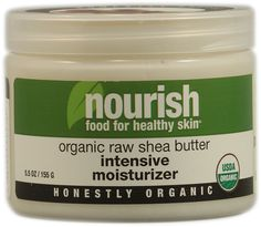 Nourish Organic Raw Shea Butter Intensive Moisturizer. Shea butter leaves skin soft. Apply to skin that slight damp and use it all over after shower.