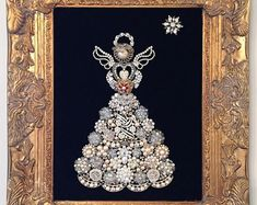 Costume/Vintage Jewelry Framed Art of an Angel #costumejewelry