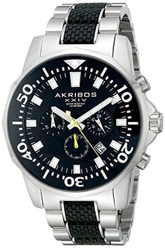 Akribos XXIV Mens AK561TTB Conqueror Black and Silver Stainless Steel Divers Chronograph Watch -- Want to know more, click on the image.