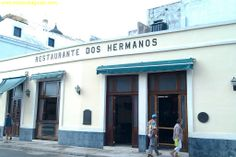 We are in Old Havana, so you can expect all these restaurants to be tourist oriented, and EXPENSIVE. Doesn't this place look expensive? Restaurante Dos Hermanos... The food is good, but expect to pay at least $20 per person. You can get the same meal for about $3 per person in Vedado.. And I show you how in my guide. But, the ferry terminal to Regla is located right in front of the Dos Hermanos restaurant.
