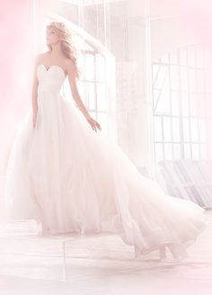 <p><b>Esther</p></b> Ivory pinstripe organza ball bridal gown, sculpted bodice with center v-notch, gathered band at natural waist and full cascading skirt. Shown with detachable studded leather suspender harness, sold separately. Bridal Gowns, Wedding Dresses by Hayley Paige Bridal - JLM Couture - Bridal Style HP6507 by JLM Couture, Inc.