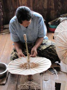 Hand crafting parasols, Inle Lake, Burma.