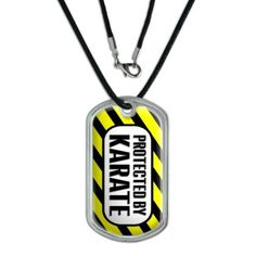 Protected by Karate Dog Tag, Silver