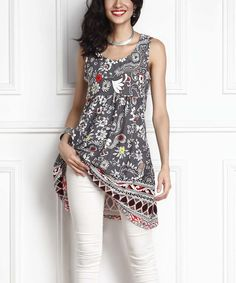 Love this Gray Floral Empire-Waist Sleeveless Tunic Dress by Reborn Collection on #zulily! #zulilyfinds