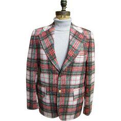 Men's Tartan Plaid Polyester Double Knit Sports Coat / Jacket..1960's - 70's..Excellent Condition!