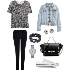 Casual by mahnoorfarooq on Polyvore featuring polyvore, fashion, style, MANGO, H&M, Warehouse, Converse, MICHAEL Michael Kors, Blue Nile and Joseph Nogucci